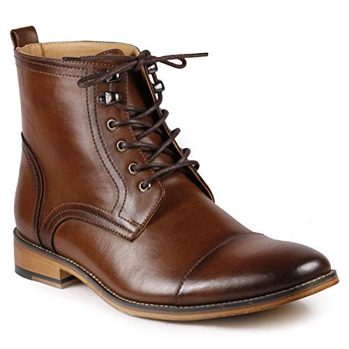 Metrocharm MC142 Men's Lace Up Cap Toe Dress Ankle Chukka Oxford Boots (11, Brown)