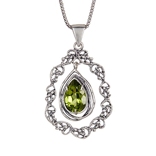 Paz Creations.925 Sterling Silver Amethyst Lace Teardrop Necklace, Made in Israel