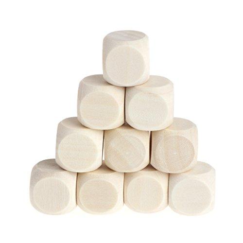 shapew 10pcs 6Sided空白木製サイコロパーティーファミリDIYゲーム印刷彫刻Kid Toys