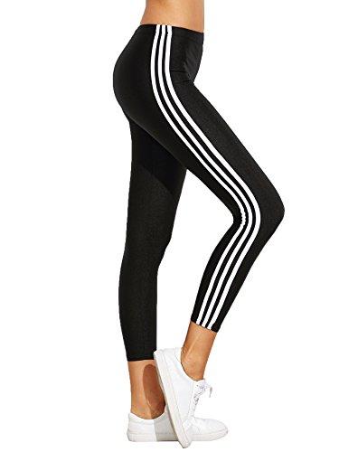 SweatyRocks Leggings Yoga Jogger Pants Sport Tights Striped Side Leggings, (Striped Yoga)