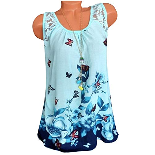 Women Vest Ladies Plus Size V-Neck Sleeveless Butterfly Print Tunic Tank Tops Blouse Casual Loose Comfort T-Shirt ()
