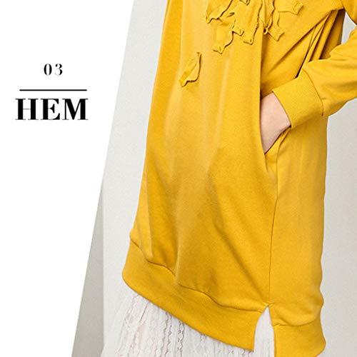 V Sciolto Lunga ff Nuovo Inverno Lff Autunno Manica Da collo Lungo Donna Cappotto E Stile Maglione Yellow Camicia Medio Soffice Pww1Zx