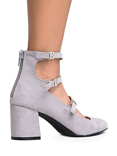 5598fb1aac70 durable modeling 3 Strap Mary Jane Heel Pumps – Buckled Strappy Low Block  Heel - Cute