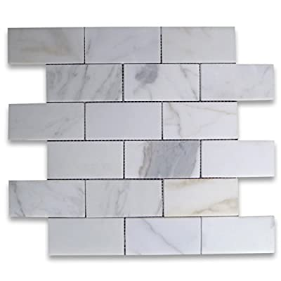 Calacatta Gold Italian Calcutta Marble Subway Brick Mosaic Tile 2 x 4 Honed from Stone Center Online