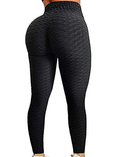 RIOJOY Yoga Pants for Women,Honeycomb High Waist Ruched Butt Scrunch Booty Fitness Leggings Gym Workout Running Tights Black