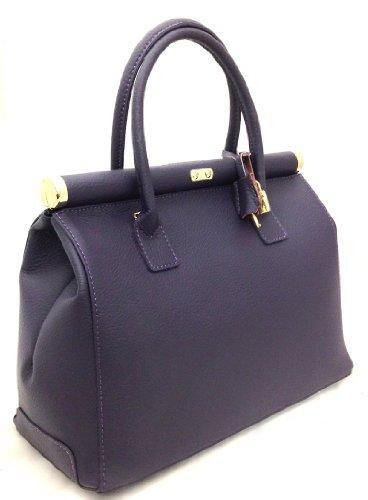 femme cuir Satchel bandoulière poignées Italy véritable Beige Violet in élégante Bag CTM Made 35x28x16cm en HStqAw