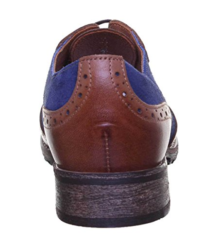 42 Justin Sole Lace Leather Womens Brown Rubber Brogues Reece Blue All EU up Aggrqz6Bf