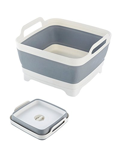 Fecihor Collapsible Dish Tub with Draining Plug Foldable Food Strainers Carry Handles Colander Fruits Vegetables Wash and Drain Sink Storage Basket for Kitchen Camping