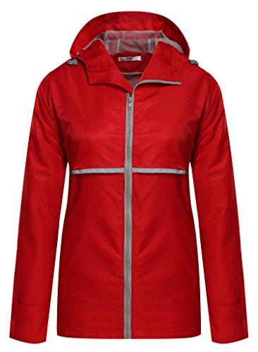 Meaneor Women's Sportswear Women's Hooded Softshell Raincoat Waterproof Jacket Red - Shell Ladies Soft Jackets Rain