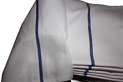 Atlas 48-Pack Kitchen Dish Towels - White with BLUE STRIPE, Low Lint, Prof Grade 24 Oz, 100% Cotton Tea Towel With Herringbone Weave, Exceptional Absorption. Preferred by Chefs, Eco-Friendly