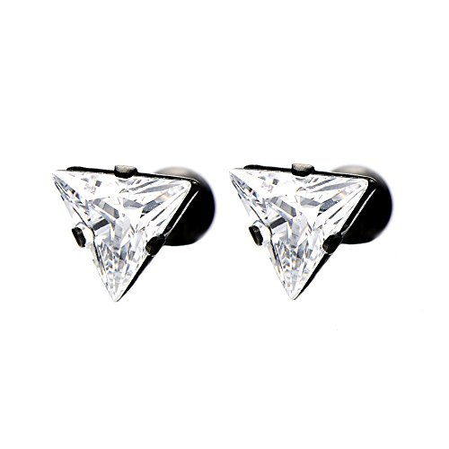 6 8mm Triangle Zirconia Earrings Stainless