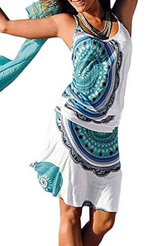 Happy Sailed Women Beachwear Dress Paisley Print Sleeveless Strappy Summer Dress Medium Sky Blue