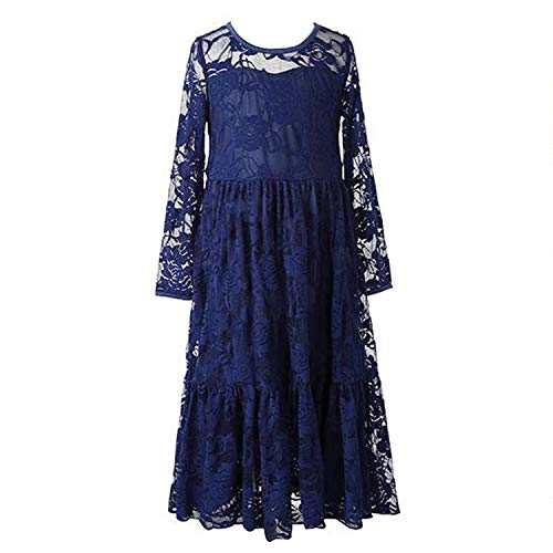 (Fancy Lace Flower Girl Dress Boho Rustic First Communion Gowns(Size 4,Navy Blue))