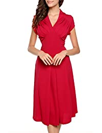 ACEVOG Women's Elegant Deep-V Neck Cap Sleeve Vintage Bridesmaid Dress