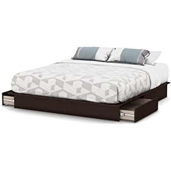 south shore step one platform bed with drawers king chocolate