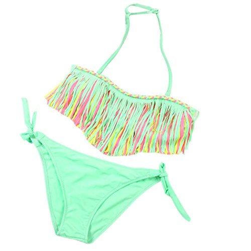 2 Piece Girls Halter Swimsuit (Fineser Kids Girls Tassel Swimwear 2 Pieces Beach Wear Swimsuit Strappy Halter Bikini Set (Green, 3-4 Years))