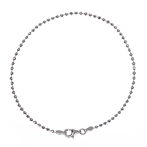 925 Sterling Silver 2.00 mm Diamond-Cut Bead Bracelet Chain with Pear Shape Clasp-Rhodium Finish