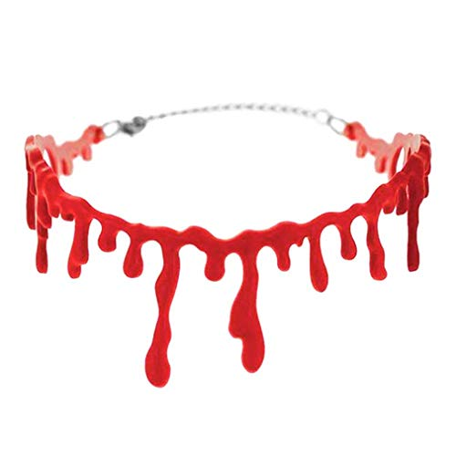 FABSELLER Halloween Horrible Bloody Scar Necklace Dripping Red Imitation Blood Droplets Choker for Vampire Halloween Party Cosplay Fancy Dress for $<!--$4.79-->