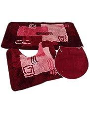 S&S-Shop Badmatset | Rubin | Milaan | 3-delig | antislip | wc-mat 50 x 45 cm | badmat 50 x 90 cm | wc-dekselovertrek 47 x 50 cm | badmat | bad | badkamer | badkamer