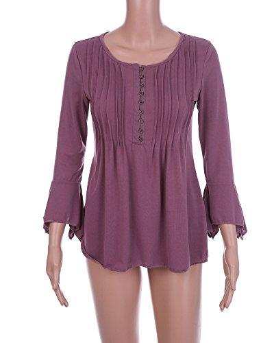 Pliss t 3 Violet Tunique Minetom V Volants Shirts Avec Col 4 Manches Blouse Casual Chemise Couleur Elgante Femme Unie Tops Dentelle XfRq5U