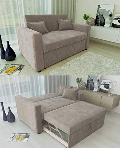 Pleasant Ravena 2 Seater Sofabed In Taupe Pull Out Drawer Sofa With Matching Cushions Home Interior And Landscaping Pimpapssignezvosmurscom