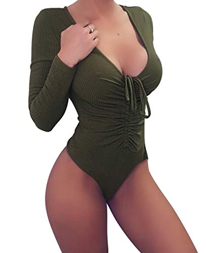 geluboao Womens Deep V Neck Long Sleeve Bodysuit Drawstring Tight Jumpsuit Leotard (XL, Army Green)]()