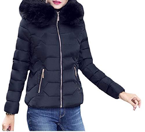 Howme-Women Thick Hood Short Mini Stylish Warm Lightweight Zip Down Coat Black