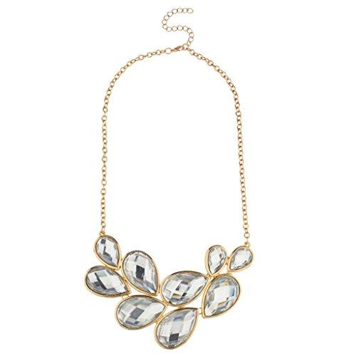 Lux accessories-transparent en forme de goutte larme pierre collier chaîne collier