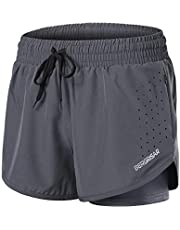 """BERGRISAR Women's 3"""" Workout Yoga Active Running Shorts 2 in 1 with Side Zipper Pocket BG115"""