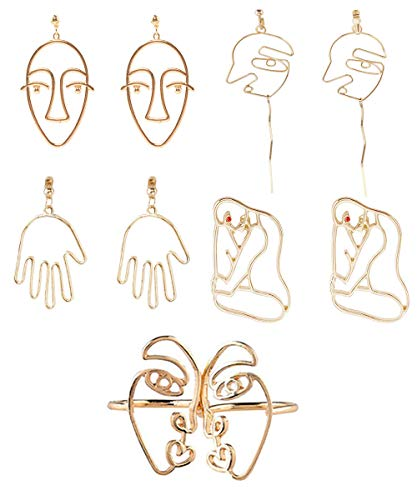 - Mrotrida Abstract Face Earrings Unique Art Face Outline Hand Drop Earring Big Statement Earrings and Face Rings 5 Pair/Set for Women's Party