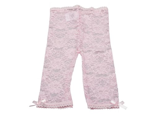 - Baby Infant & Toddler Girl-Soft Lace Leggings-Capris-Satin Bows-Comfort Waist (2-4 Years, Pink)