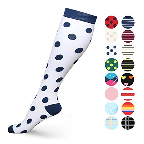 HLTPRO Graduated Compression Socks for Women & Men 20-30 mmHg - Moderate Compression Stockings For Running, Crossfit, Travel- Suits, Nurse, Maternity Pregnancy, Shin Splints (S/M, New York)
