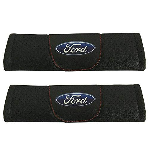 Jimat 2pcs Ford Logo Black Leather Car Seat Safety Belt Strap Covers Shoulder Pad Accessories Fit For Ford Explorer Ford F 150 Raptor Ford F 250 Super Duty Ford F 350 Super Duty Ford F 450 Super Duty