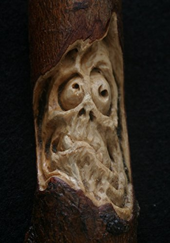 Woodcarving Wood Spirit Zombie Orc Troll Goblin Tree Face Spirit of the Woods Odd Weird Pagan Wiccan Sculpture Key Chain Pendant Talisman OOAK Unique Gift Ornament