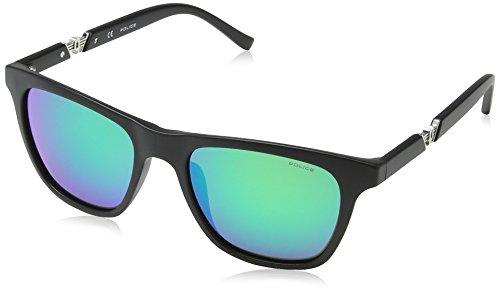 Police Wayfarer Style Sunglasses in Matte Black Green Mirror S1800 703G - Wayfarer Sunglasses Police