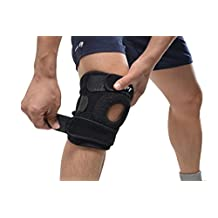 AGPtek Ultra Flex Breathable Knee Brace Support Neoprene Sleeve - Active Wear, Adjustable Size,Anti-slip Silicon, Blac