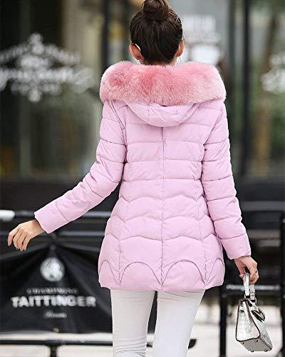 Laterales Huixin Hipster Elegante Cremallera Modernas Exteriores Chaqueta Capucha con Manga Acolchada Pink con Cremallera Larga Mujer Bolsillos Prendas Color Invierno Termica Sólido Plumas Capa con 1rwq1Fz