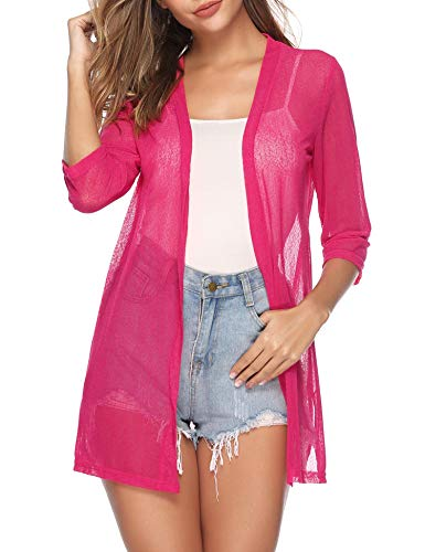 iClosam Women Casual 3/4 Sleeve Sheer Open Front Cardigan Sweater (Rose Red, Small)