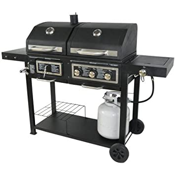 USA Premium Store Dual Fuel Combination Charcoal Gas Grill Painted Steel Removable Ash Tray