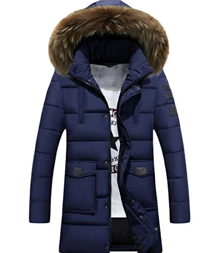 Mid Colour Warm Men Howme Parka LonHoodie Thickened Jacket Navy blue Pure pHwX4qU