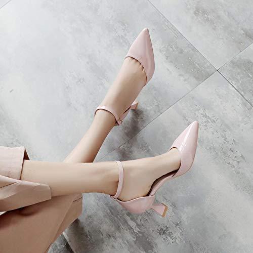 Profesionales Pink Hebilla Salvajes Una Tacón Cómodo De 38 De zapatos De tacón Otoño alto Grueso Alto Zapatos Zapatos con Mujer Zapatos Rosa con con Botón Yukun de BqACwgFO
