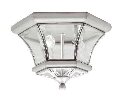 Livex Lighting 7052-91 Monterey 2 Light Outdoor/Indoor Brushed Nickel Finish Solid Brass Flush Mount with Clear Beveled Glass by Livex Lighting
