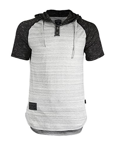 (ZIMEGO Short Sleeve Raglan Henley Hoodie Round Bottom Semi Longline T-Shirt (XX-Large, ZFSS140H Hgrey Fulfilled by)