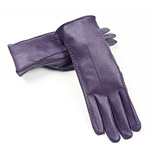 Women's Touchscreen Texting Driving Winter Warm PU Leather Gloves (Purple)
