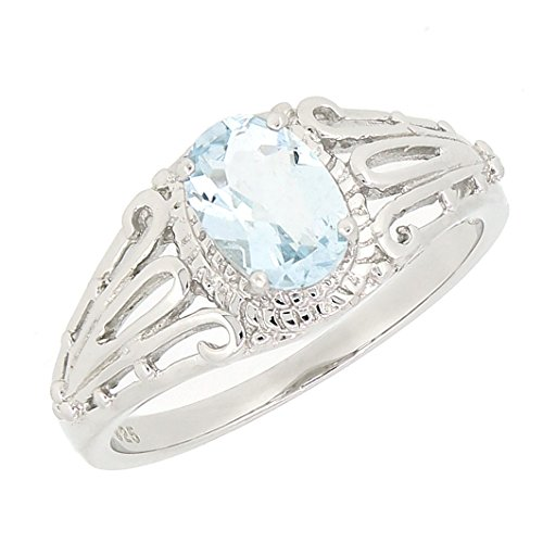 - BL Jewelry Filigree Sterling Silver Oval Cut Natural Aquamarine Ring (3/4 CT.T.W)