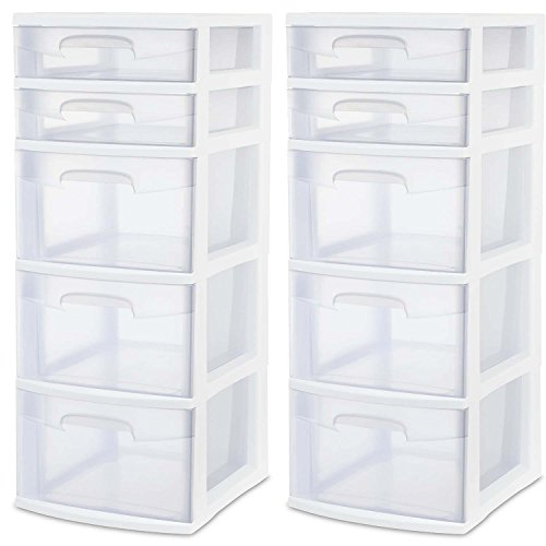 Sterilite 28958002 5 Drawer Tower, White Frame with Clear Drawers, 2-Pack (Rubbermaid Drawers Storage)