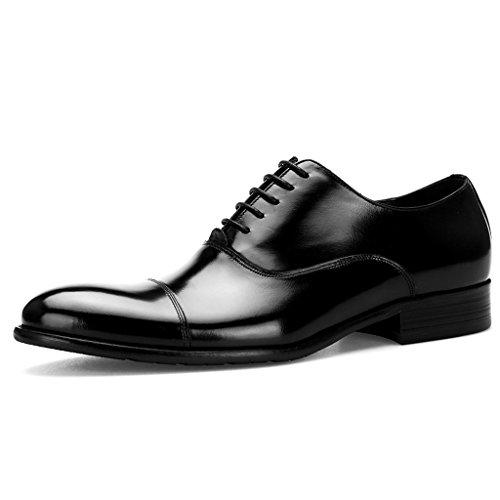 Zapatos Clásicos de Piel para Hombre Zapatos de cuero de estilo europeo para hombres Ropa formal de costura a mano de negocios Estilo británico acentuado ( Color : Color cafe , Tamaño : EU39/UK6 ) Negro
