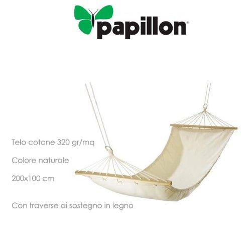 PAPILLON Amaca Individuale in Cotone con Traverse di Sostegno in Legno 200X100 Cm