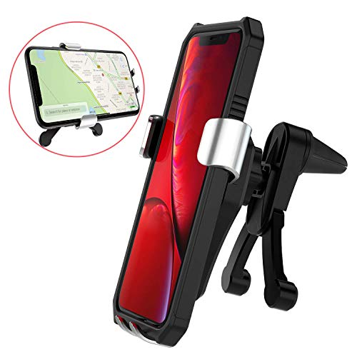 Aioffer Car Phone Holder,Universal Mobile Phone Gravity Vent Mount with Two Kickstand Prevent Falling for iPhone Xs Max/XR/X/8,Samsung Galaxy S9/S8 Plus/Note 9 and Other Devices 4.7-6.5 inch (Silver)