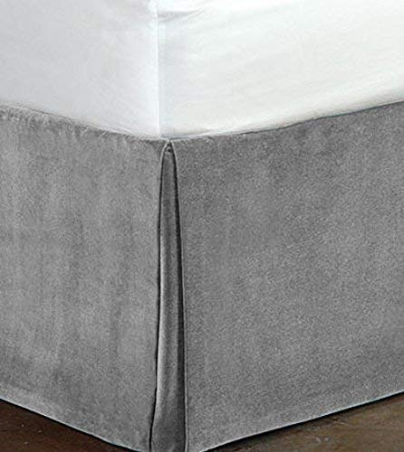 OnlineBestDeal's Classy Royal 100% Cotton Velvet Bedskirt/Valance 18'' Drop (Cal-King, Silver) by OnlineBestDeal's (Image #4)